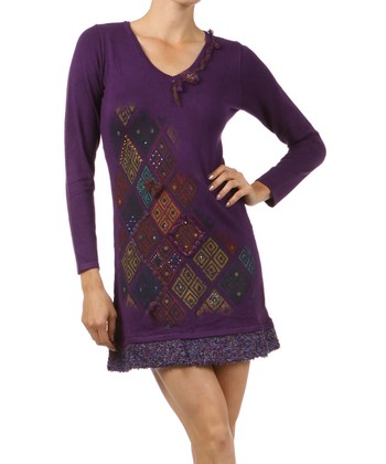 Purple Diamond Embellished Long-Sleeve Dress