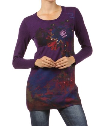 Purple Embellished Long-Sleeve Top