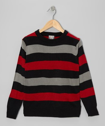 Black Stripe Crewneck Sweater - Boys