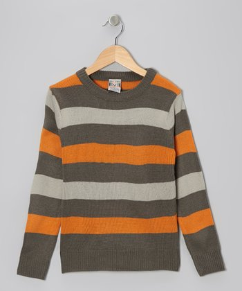 Charcoal Stripe Crewneck Sweater - Boys