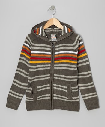 Dark Gray Stripe Zip-Up Hoodie - Toddler & Boys