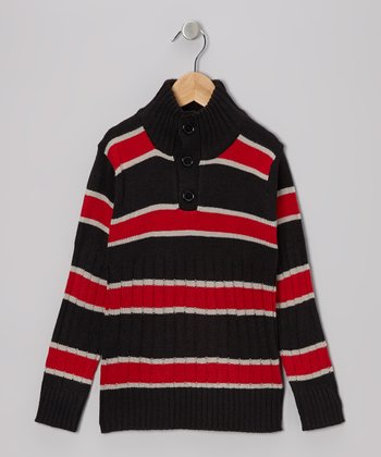 Black & Red Stripe Pullover - Toddler & Boys