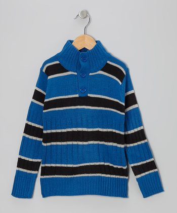 Charcoal & Blue Stripe Pullover - Toddler & Boys