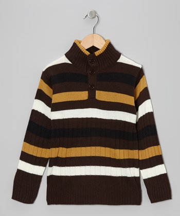 Black & Brown Stripe Pullover - Toddler & Boys