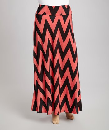 Coral & Black Zigzag Maxi Skirt - Plus