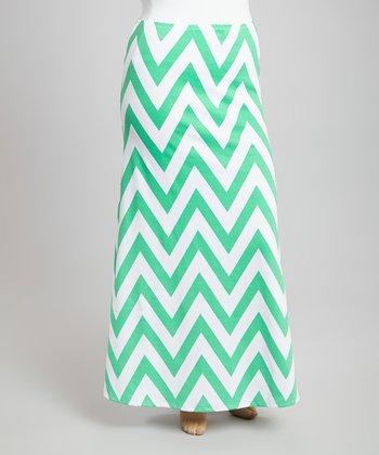 Green & White Zigzag Maxi Skirt - Plus
