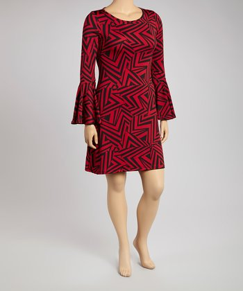 Red & Black Geometric Bell-Sleeve Sweater Dress - Plus