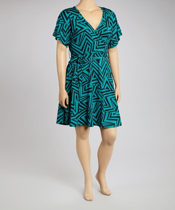 Teal & Black Geometric Surplice Dress - Plus