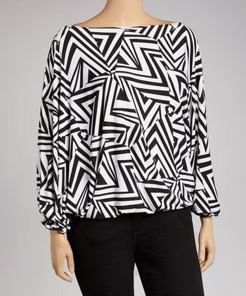 White & Black Geometric Ruffle Boatneck Top - Plus