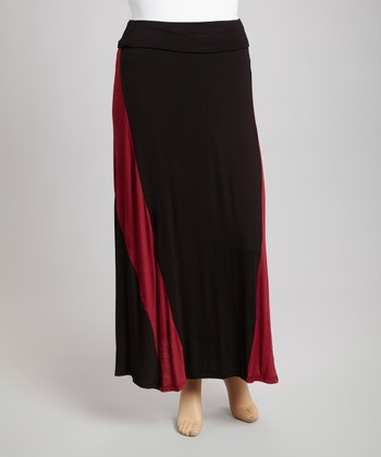Burgundy & Black Color Block Maxi Skirt - Plus