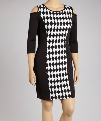 Black & White Harlequin Cutout Dress - Plus