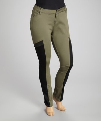 Olive & Black Color Block Skinny Jeans - Plus