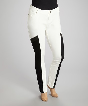 White & Black Color Block Jeans - Plus