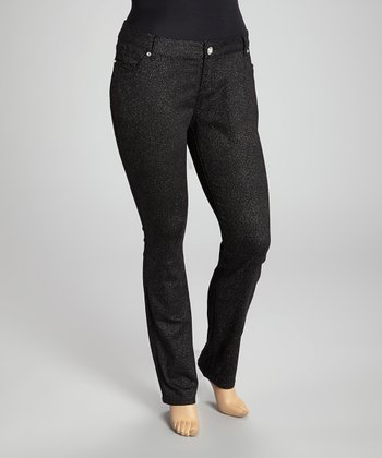 Black Glitzy Skinny Jeans - Plus