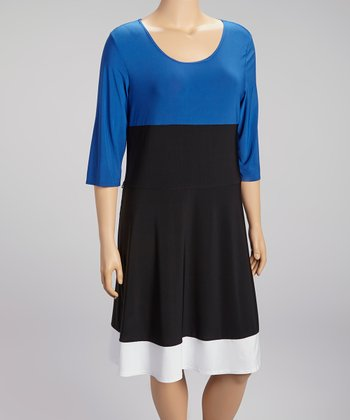 Royal Blue & Black Color Block Scoop Neck Dress - Plus