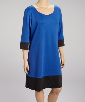 Royal Blue & Black Color Block Three-Quarter Sleeve Dress - Plus