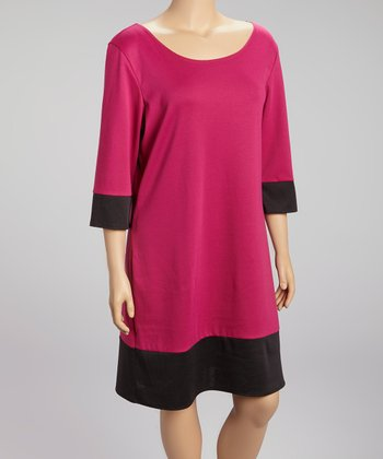 Magenta & Black Color Block Three-Quarter Sleeve Dress - Plus