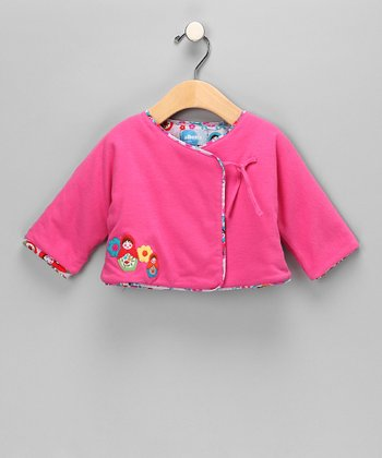 Hot Pink Reversible Wrap Jacket - Infant