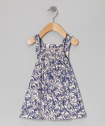 Navy & Peach Rose Organic Shirred Dress - Infant