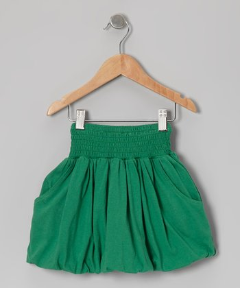 Green Organic Bubble Skirt - Toddler & Girls