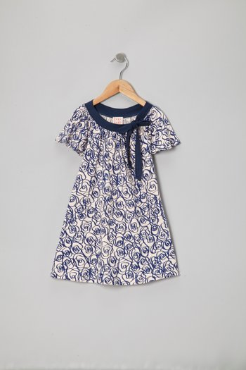 Navy & Peach Rose Organic Tie Tee - Toddler & Girls