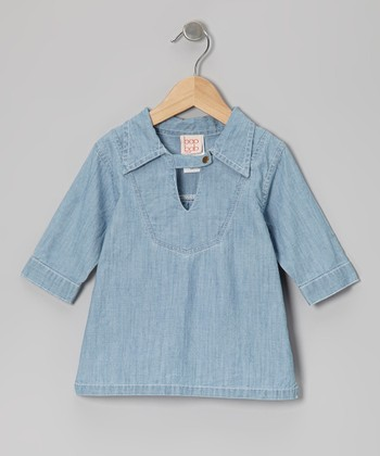 Pale Chambray Collared Top - Toddler & Girls