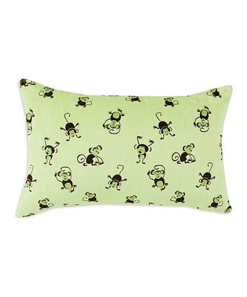 Chooty & Co. Lime & Brown Monkey Bolster Pillow