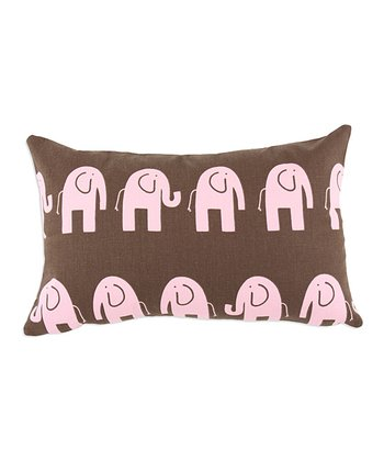 Chooty & Co. Brown & Pink Elephant Pillow