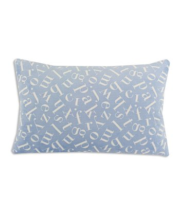 Chooty & Co. Light Blue & White Tossed Letters Bolster Pillow