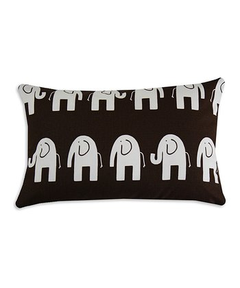 Chooty & Co. Brown & White Elephant Pillow