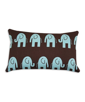Chooty & Co. Brown & French Blue Elephant Pillow