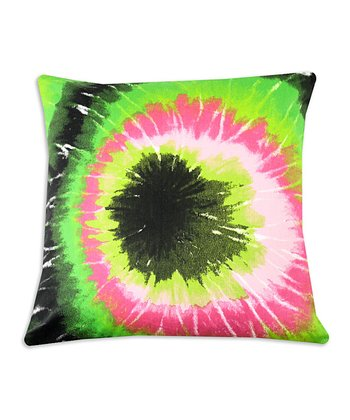 Chooty & Co. Black & Lime Green Tie-Dye Pillow