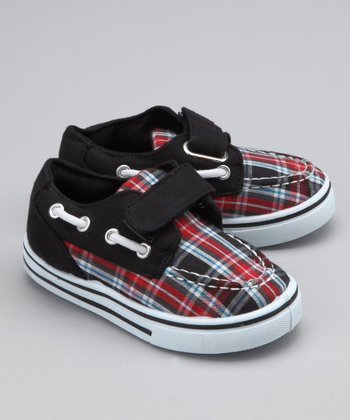Black & Red Plaid Strap Boat Shoe