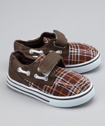 Brown Plaid Strap Boat Shoe