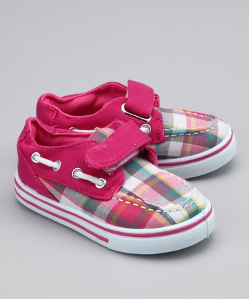 Fuchsia Plaid Strap Boat Shoe