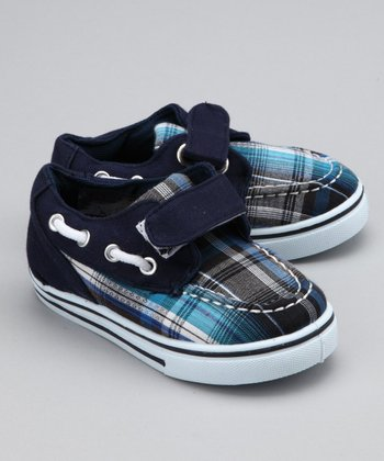 Navy Plaid Strap Boat Shoe