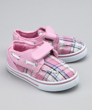 Pink Plaid Strap Boat Shoe