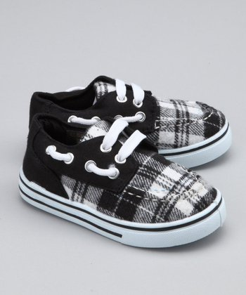 Black Plaid Boat Shoe