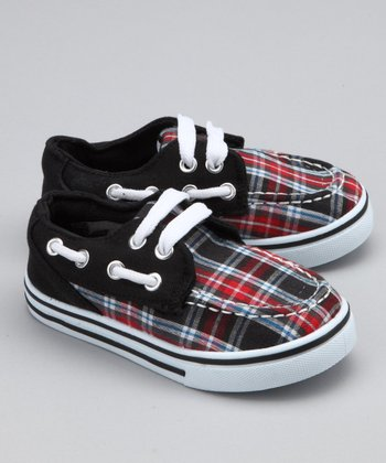 Black & Red Plaid Boat Shoe