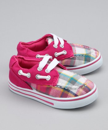 Fuchsia Plaid Boat Shoe