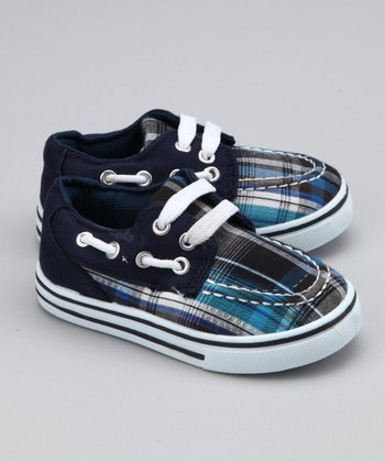 Navy Plaid Boat Shoe
