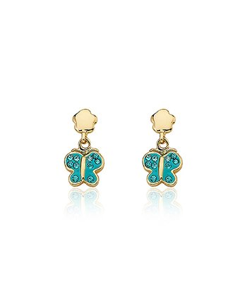 Gold & Aqua Butterfly Earrings