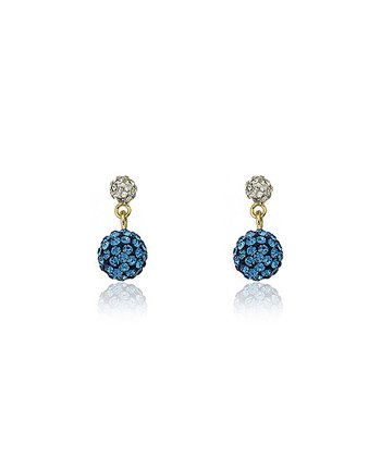 Gold & Blue Crystal Ball Dangle Earrings