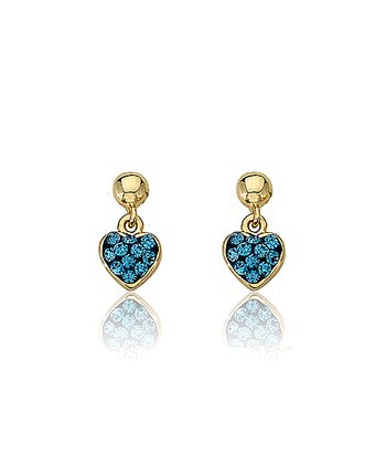 Gold & Blue Crystal Heart Earrings