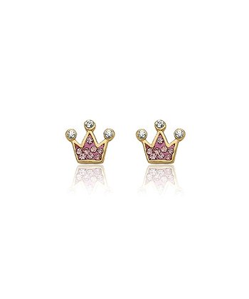 Gold & Pink Crystal Crown Earrings