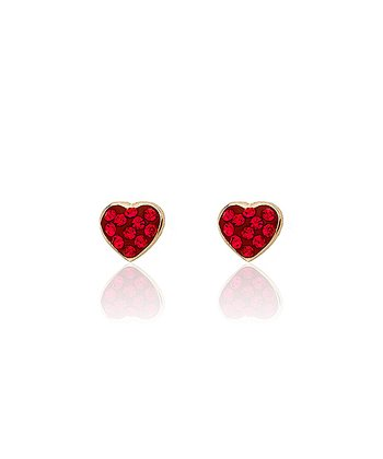Gold & Red Crystal Heart Earrings