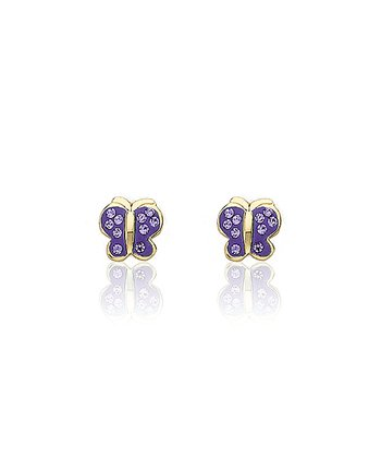 Gold & Lavender Crystal Butterfly Earrings