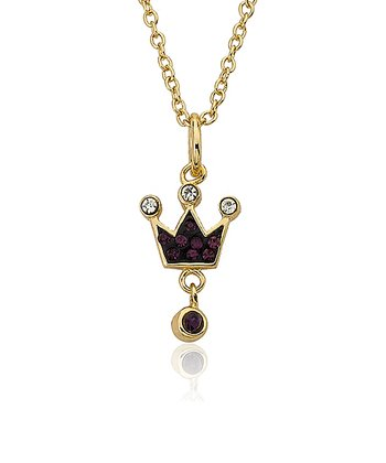 Gold & Purple Crystal Crown Charm Pendant Necklace