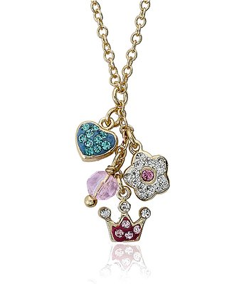 Gold & Pink Crystal Charm Necklace