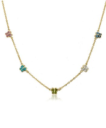 Aqua & Green Crystal Butterflies Chain Necklace